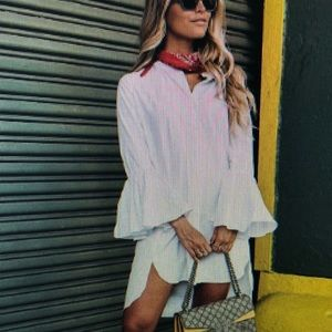 White long flare dress shirt bell sleeves.